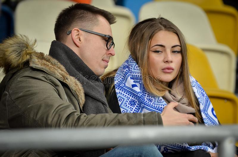 Kiev, UKRAINE - March 14, 2019: Football fans support the team during the UEFA Europa League match between Dynamo Kiev vs Chelsea. (London, England), NSC royalty free stock images