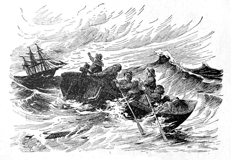 Mariners are in distress. Kiev, Ukraine - March 24, 2018: ILLUSTRATIVE EDITORIAL The reproduction of antique engraving that shows the sailors who sail on the