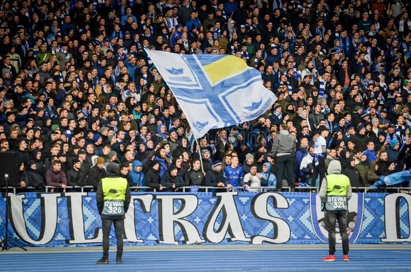 Kiev, UKRAINE - March 14, 2019: Ultras and fans support the team during the UEFA Europa League match between Dynamo Kiev vs. Chelsea (London, England), NSC stock photos