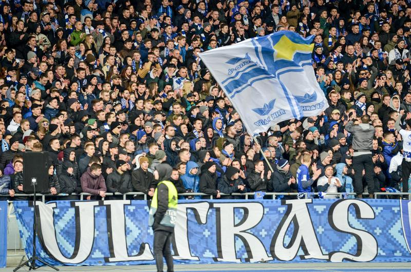 Kiev, UKRAINE - March 14, 2019: Ultras and fans support the team during the UEFA Europa League match between Dynamo Kiev vs. Chelsea (London, England), NSC stock photo