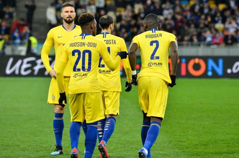 Kiev, UKRAINE - 14 mars 2019 : Joueuse de Chelsea Football pendant la correspondance d'UEFA Europa League entre Dynamo Kiev contr image libre de droits