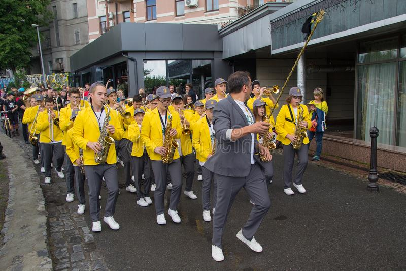 Kiev, Ukraine - May 19, 2018: Brass band marching at festival stock photography