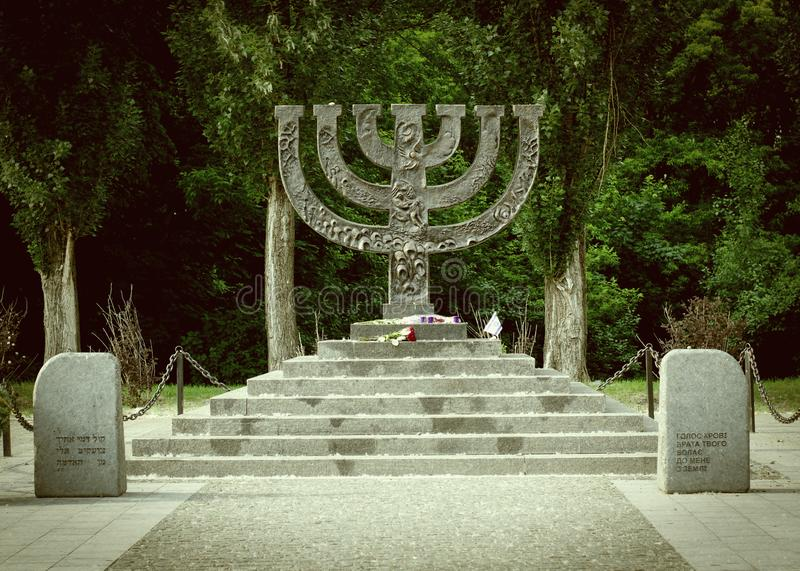 Kiev Ukraine - May 25, 2019. Menorah at Babi Yar memorial complex, place of massacres carried out by German forces during World royalty free stock photo