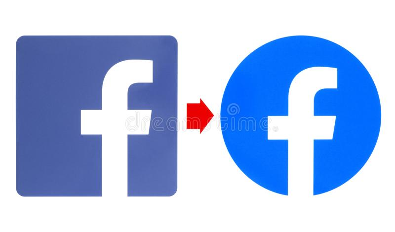 New and old Facebook logos. Kiev, Ukraine - May 02, 2019: New and old Facebook logos printed on white paper. Facebook is a well-known social networking service stock illustration