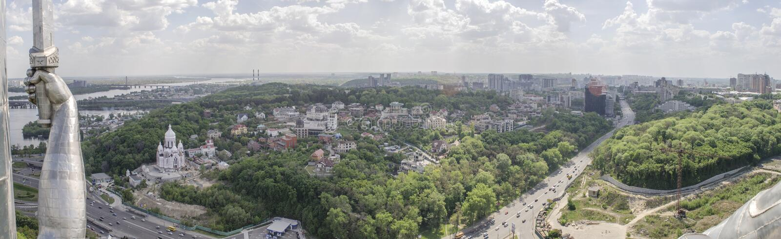 KIEV, UKRAINE - May 7, 2017: Panorama of the city from the observation deck on the monument Motherland royalty free stock image