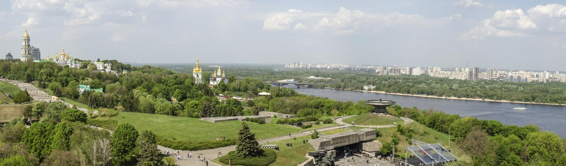 KIEV, UKRAINE - May 7, 2017: Panorama of the city overlooking the Kiev Pechersk Lavra stock images
