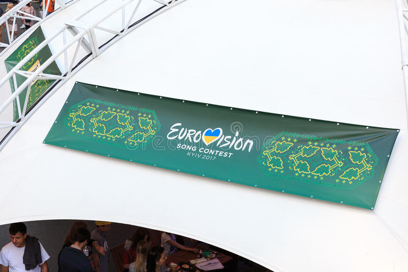 Kiev, Ukraine - may 6, 2017. Preparations for the Eurovision 2017 on Khreshchatyk. Freedom, music. Kiev. Ukraine. Kiev, Ukraine - may 6, 2017. Preparations for stock photography