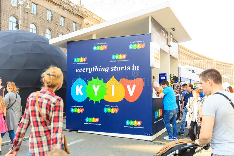 Kiev, Ukraine - may 6, 2017. Preparations for the Eurovision 2017 on Khreshchatyk. Freedom, music. Kiev. Ukraine. Kiev, Ukraine - may 6, 2017. Preparations for stock images