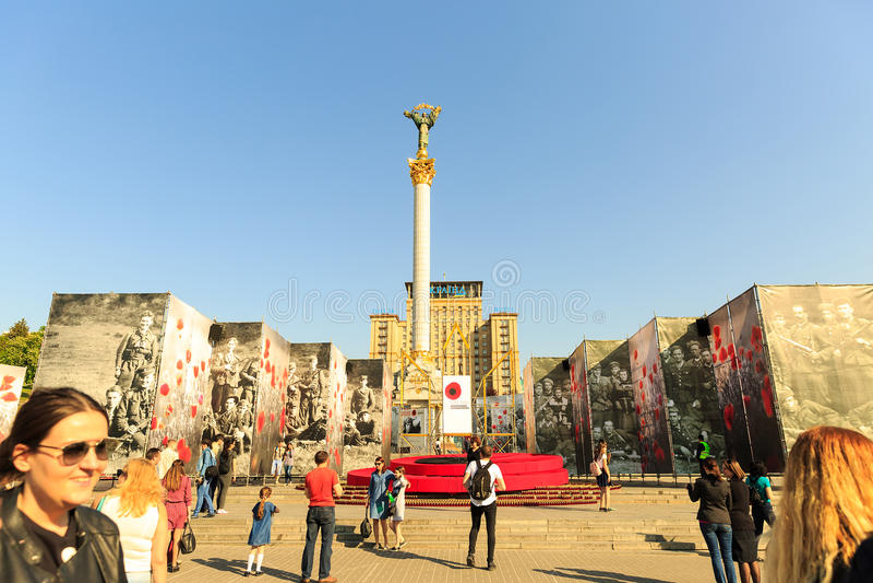 Kiev, Ukraine - may 6, 2017. Preparations for the Eurovision 2017 on Khreshchatyk. Freedom, music. Kiev. Ukraine. Kiev, Ukraine - may 6, 2017. Preparations for stock image