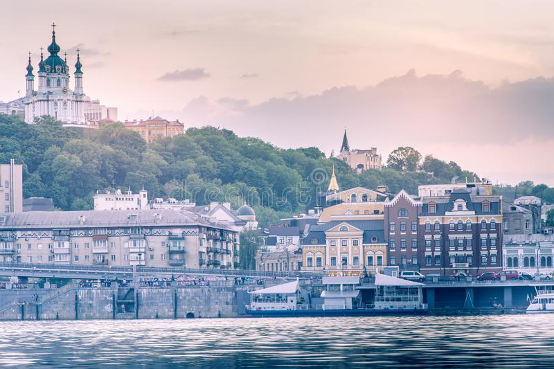 Kiev, Ukraine - May 4, 2018: beautiful background, sunset on the Dnieper, overlooking the Podil royalty free stock image