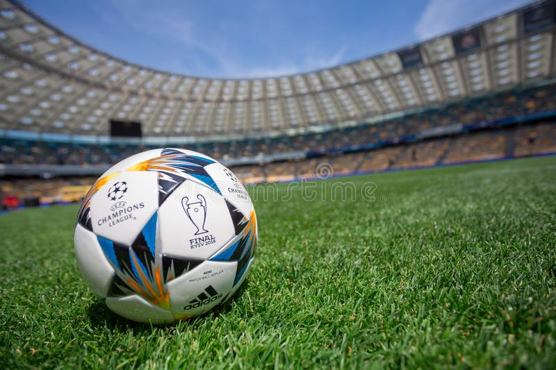 Kiev, Ukraine - May 16, 2018: UEFA Champions League Final Kyiv official match ball. Mini on NSC Olimpiyskiy Satdium stock photography