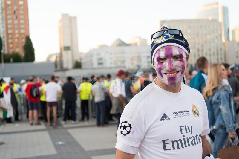 KIEV, UKRAINE - MAY 26, 2018: UEFA fan of FC Real Madrid and Liverpool football team before final UEFA champion ligue game at NSC royalty free stock photography