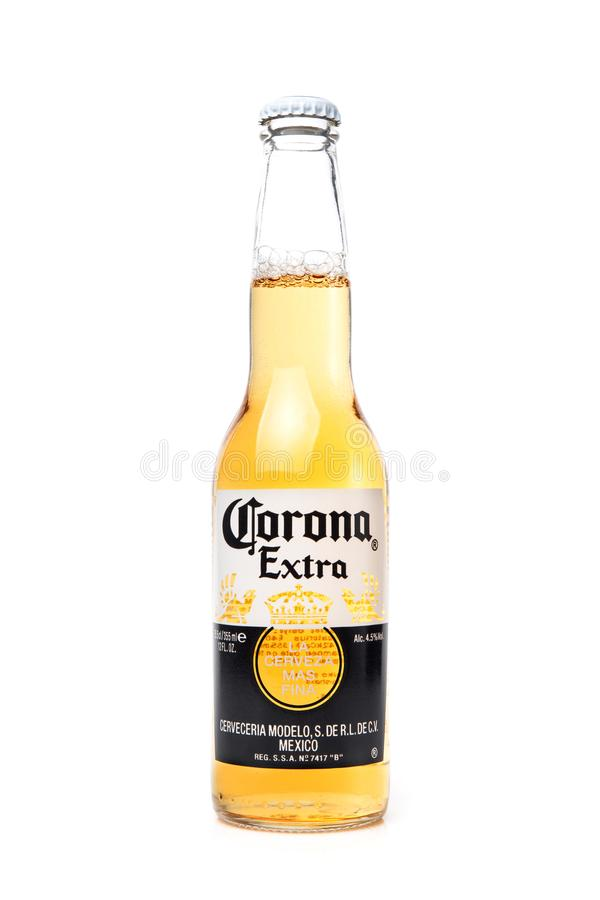 KIEV, UKRAINE - NOVEMBER 29, 2018: Mexican Corona Extra Beer in glass bottle isolated on white background.  stock photos