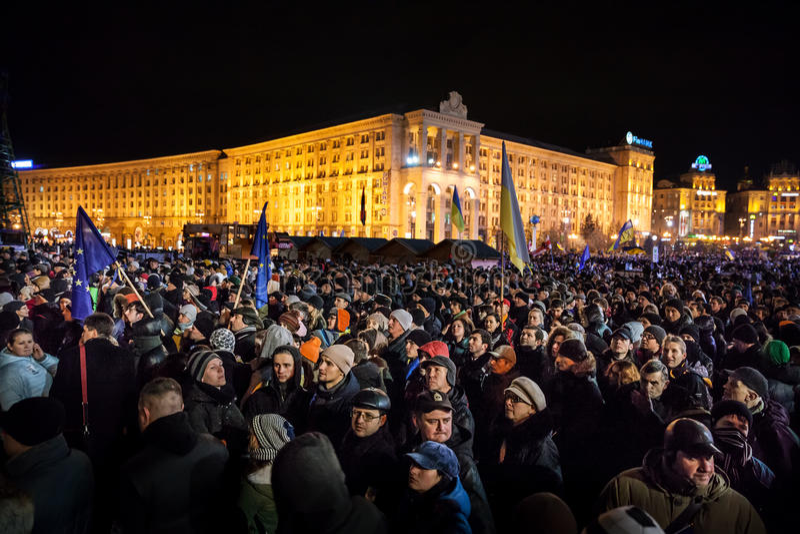 KIEV, UKRAINE - NOVEMBER 29: Pro-Europe protest in Kiev. On november 29, 2013, Kiev, Ukraine stock photos