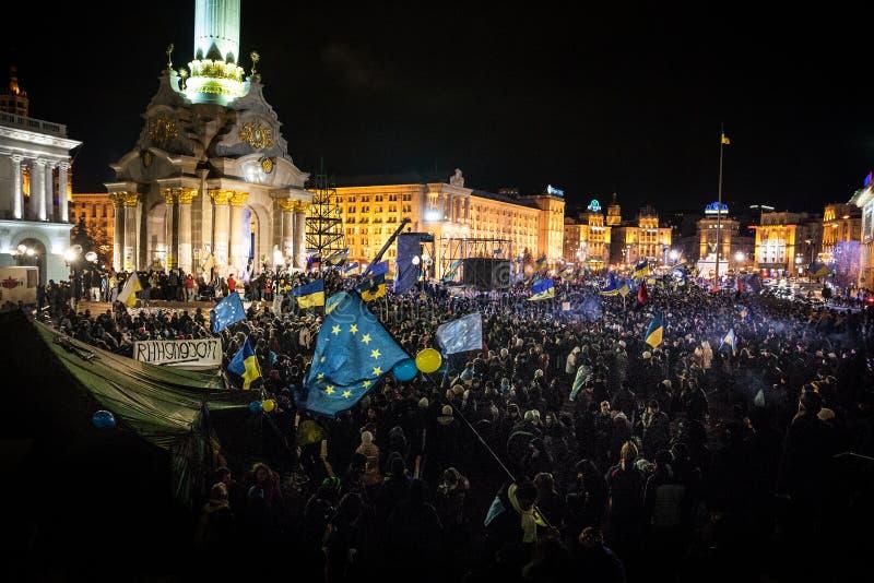 KIEV, UKRAINE - NOVEMBER 29: Pro-Europe protest in Kiev. On november 29, 2013, Kiev, Ukraine royalty free stock photography