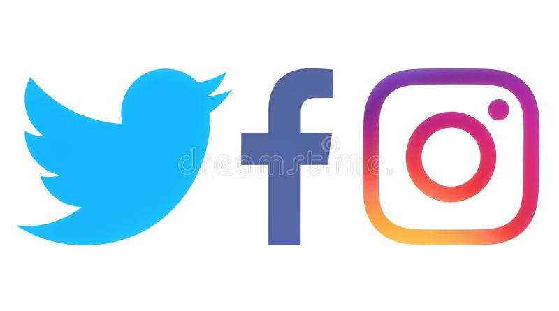 Facebook, Twitter and Instagram logos stock illustration