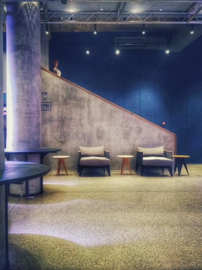 KIEV, UKRAINE - October 13, 2018: the lobby of the new theater on Podol on Anreevsky descent royalty free stock photo