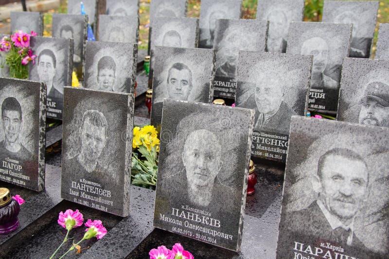 Kiev, Ukraine - October 08, 2016: Memorial to the victims of the revolution in 2014. At street Institutskaya royalty free stock image