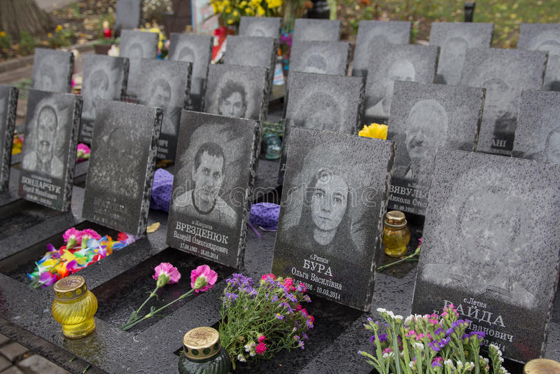 Kiev, Ukraine - October 08, 2016: Memorial to the victims of the revolution in 2014. At street Institutskaya stock photography