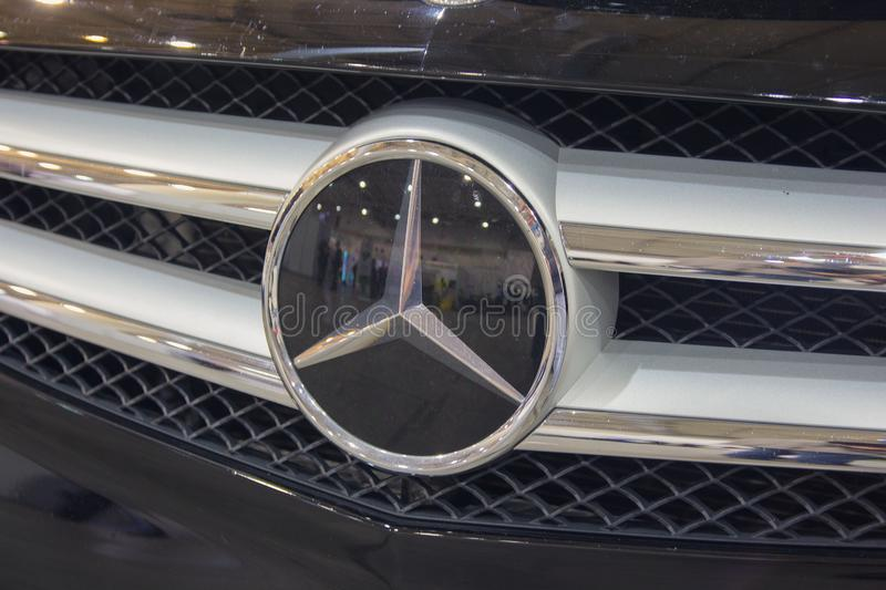 Kiev, Ukraine - October 07, 2018: Mercedes Benz logo close up. Mercedes-Benz is a German manufacturer royalty free stock photos