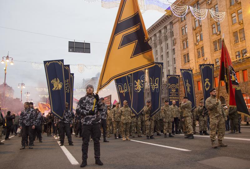 Kiev, Ukraine - October 14, 2017: Nationalist parties and movements during the march. On the anniversary of the creation of the Ukrainian army royalty free stock images