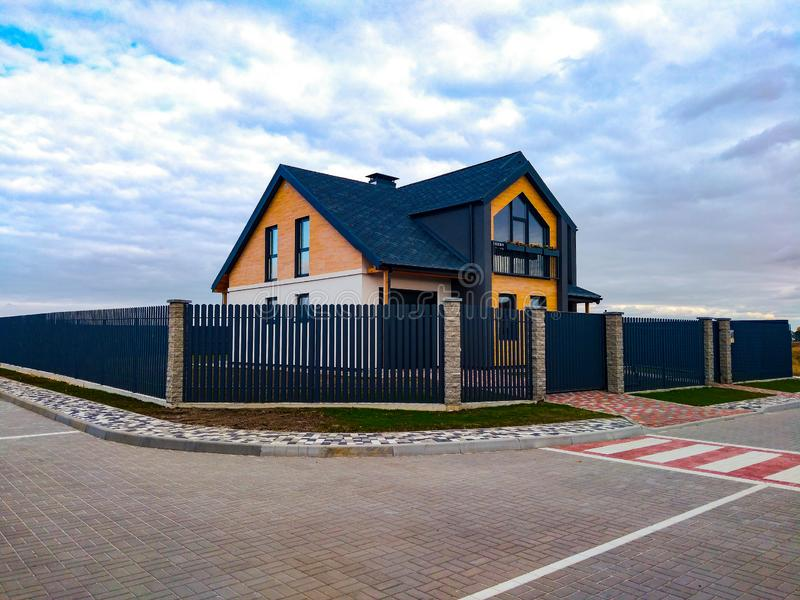 Kiev, Ukraine October 12, 2019 - New country house in a cottage village royalty free stock images