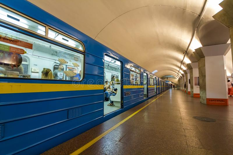 Kiev, Ukraine - October 15, 2017: Underground (subway) metro train standing at a station before departure royalty free stock photos