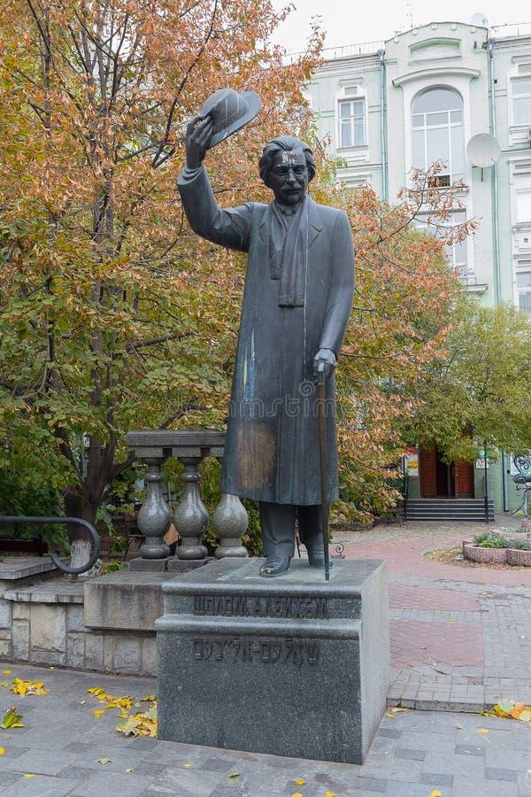 Kiev, Ukraine - 22 octobre 2016 : Monument à l'auteur juif célèbre Yiddish Sholom Aleichem images libres de droits