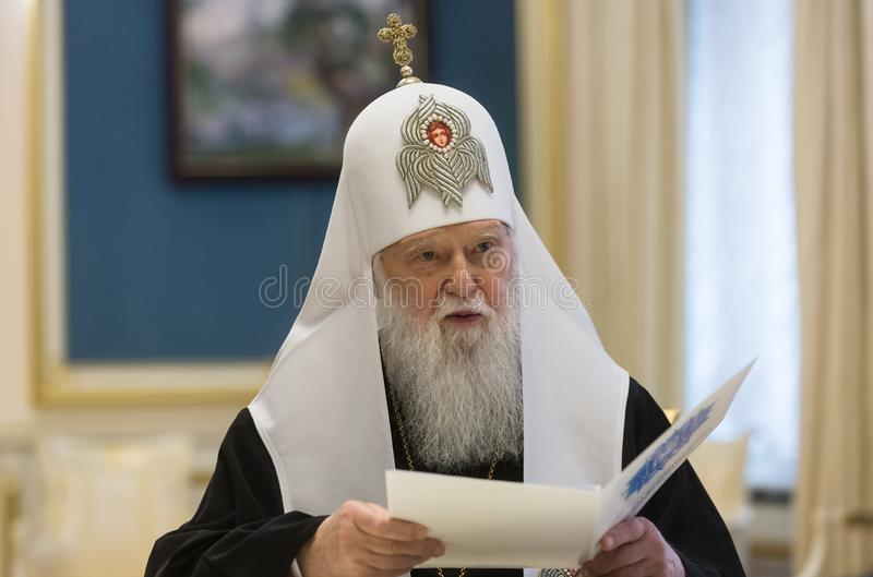 Patriarch of Kiev and all Russia-Ukraine Filaret. KIEV, UKRAINE - Okt 16, 2018: Patriarch Filaret personally congratulated the President Poroshenko on the royalty free stock images