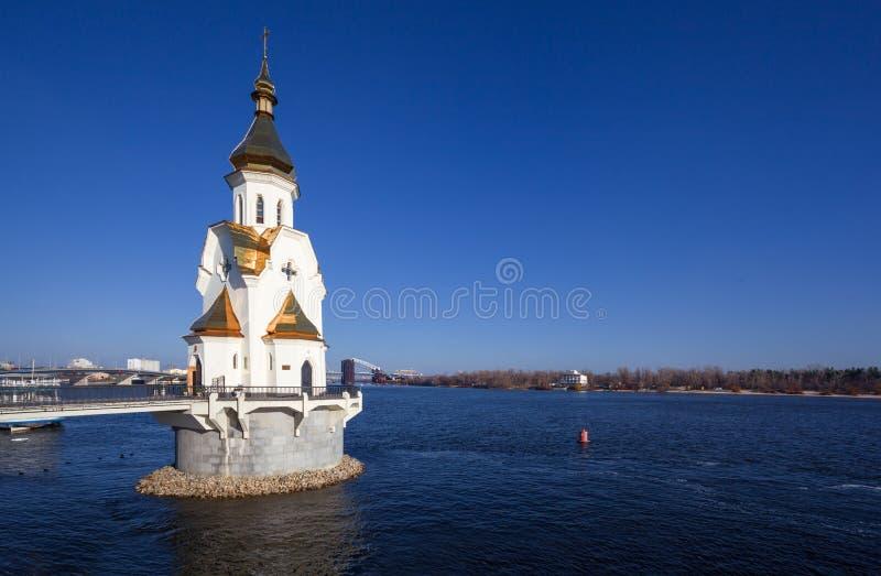 Kiev. Ukraine. Orthodox church on Dnepr river in Kiev. Ukraine royalty free stock image