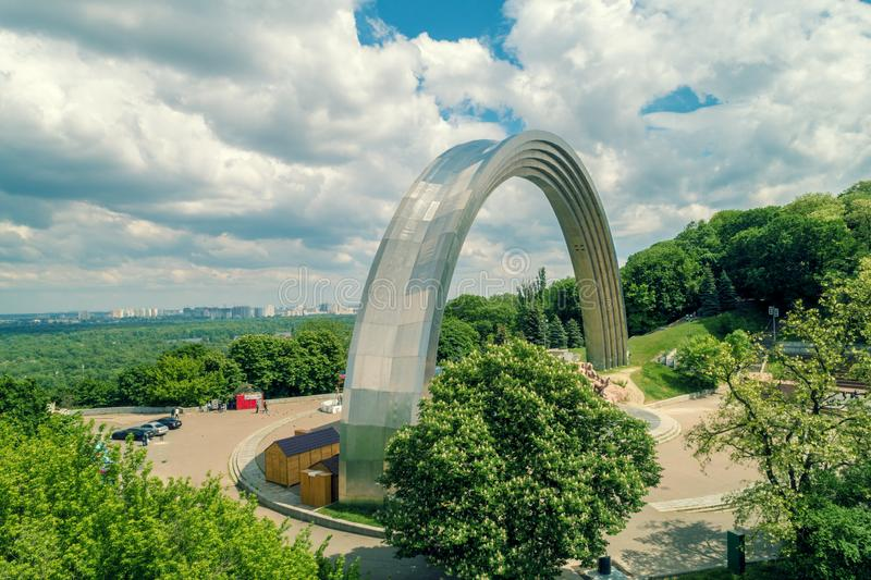 The People`s Friendship Arch Arka druzhby narodiv monument. Aeriel view. Kiev, Ukraine. The People`s Friendship Arch Arka druzhby narodiv monument. Aeriel view royalty free stock photos