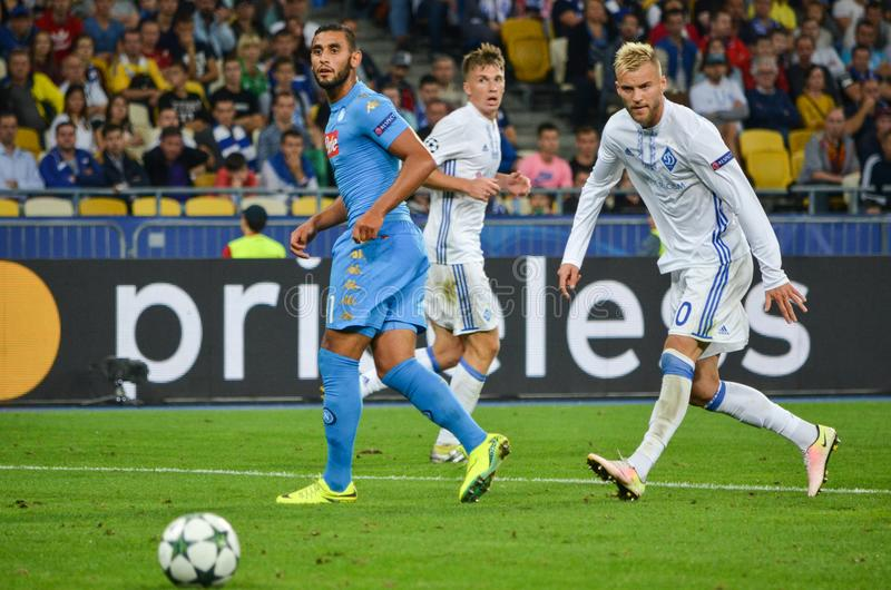 Kiev, UKRAINE - SEP 13, 2016: Faouzi Ghoulam (L)during the UEFA. Champions League match between Dynamo Kiev vs SSC Napoli, NSC Olympic stadium, 13 September stock photo