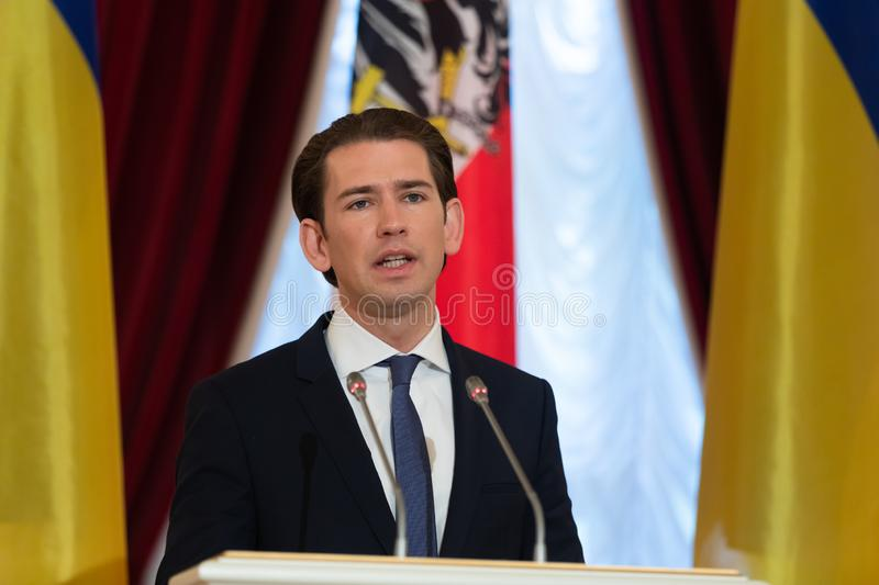 Federal Chancellor of the Republic of Austria Sebastian Kurz. KIEV, UKRAINE - Sep 04, 2018: Federal Chancellor of the Republic of Austria Sebastian Kurz during a stock image