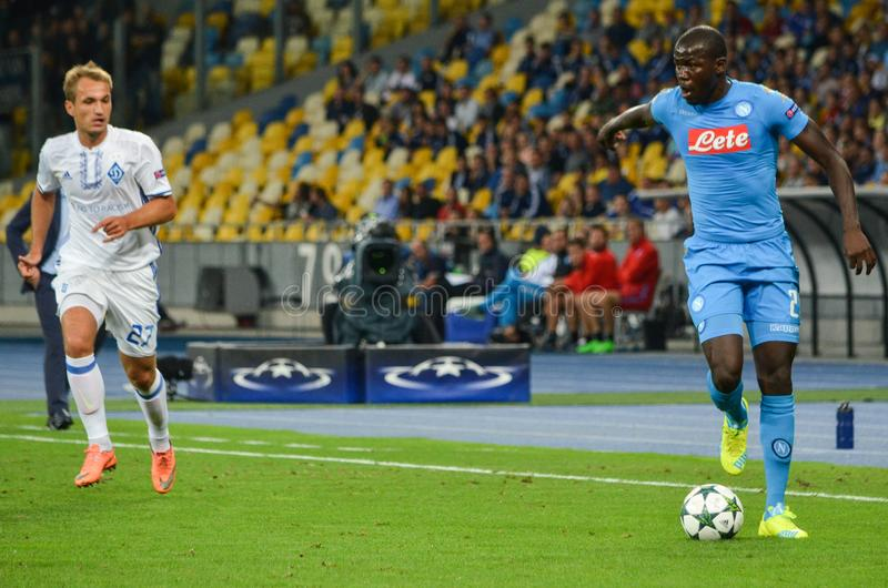Kiev, UKRAINE - SEP 13, 2016: Kalidou Koulibaly (R )during the. UEFA Champions League match between Dynamo Kiev vs SSC Napoli, NSC Olympic stadium, 13 September stock photos