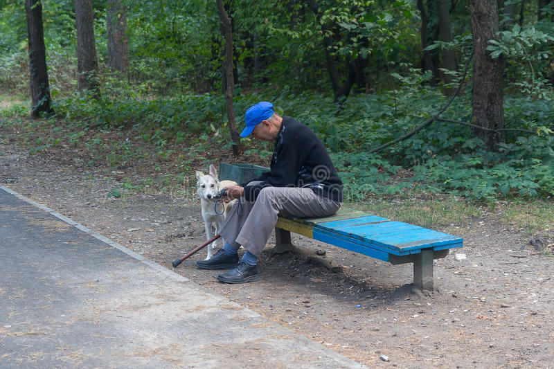 Kiev, Ukraine - September 09, 2015: Elderly man on a walk in the. Park with a dog stock photography