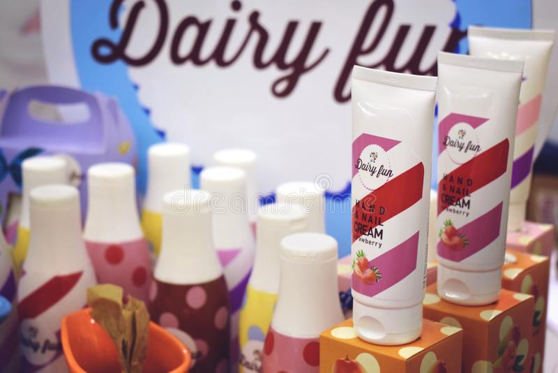 Kiev, Ukraine 19 September, 2018: Hand care. Hand and nail tube strawberries cream in beauty store. Cosmetic beauty product stock images
