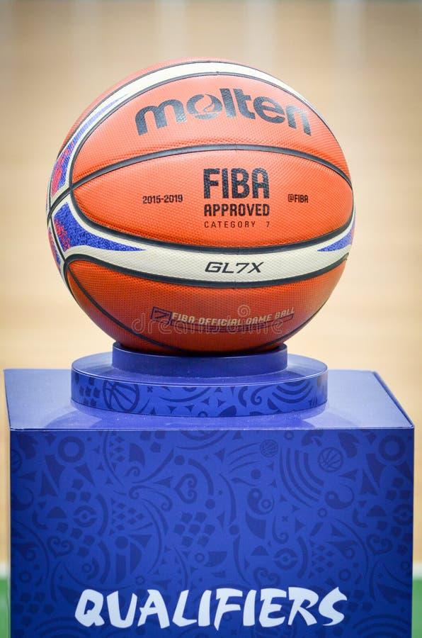 KIEV, UKRAINE - September 14, 2018: Official FIBA Special Edition Basketball Molten USA GL7X close up during the FIBA Basketball royalty free stock image
