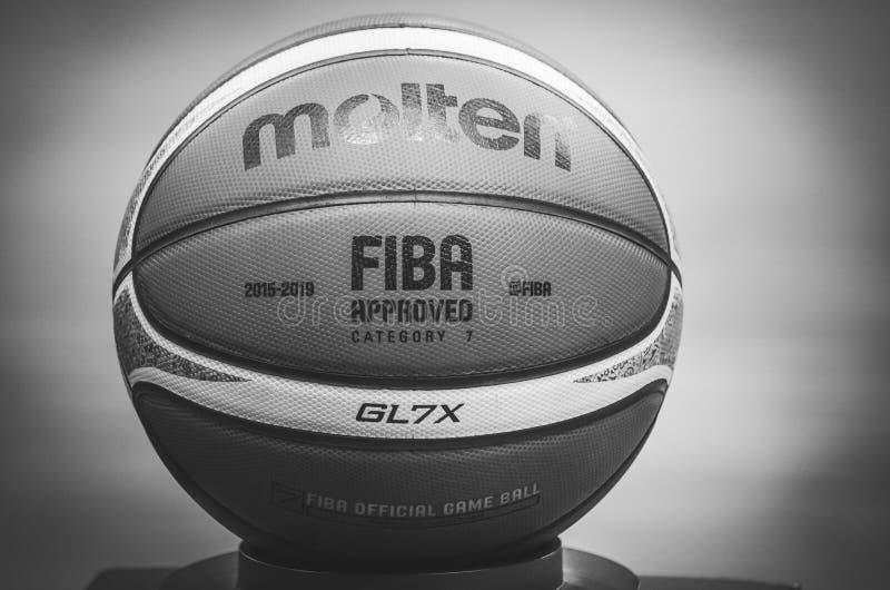 KIEV, UKRAINE - September 14, 2018: Official FIBA Special Edition Basketball Molten USA GL7X close up during the FIBA Basketball stock photography