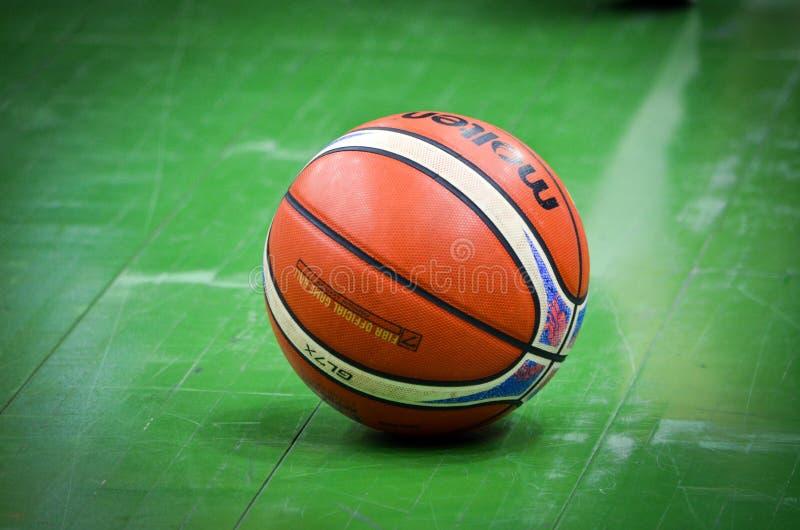 KIEV, UKRAINE - September 14, 2018: Official FIBA Special Edition Basketball Molten USA GL7X close up during the FIBA Basketball stock image