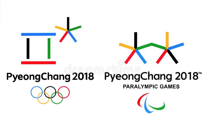 Official logos of the 2018 Winter Olympic Games in PyeongChang. Kiev, Ukraine - September 18, 2017: Official logos of the 2018 Winter Olympic Games in