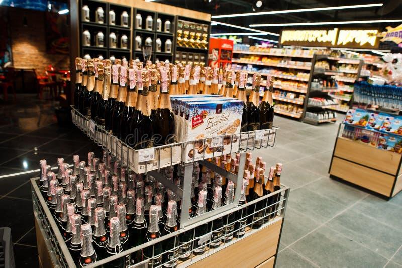 Kiev, Ukraine - September 4, 2019: Silpo supermarket. Champagne on the shelf of a grocery store stock photography