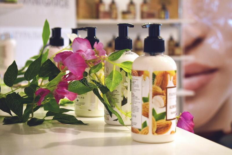 Kiev, Ukraine 19 September, 2018: White Mandarin Cosmetics. Shower gel samples. Bottles of natural organic shower gel or stock photography