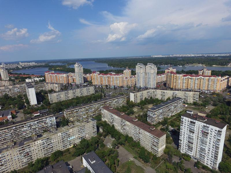 Residential area of Kiev at summer time drone image. Kiev, Ukraine. Summer time in the city royalty free stock photography