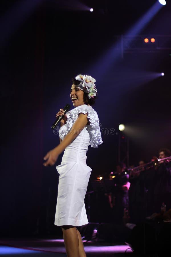 Kiev, Ukraine, 12.04.2011 Ukrainian famous singer Jamala. Sings on the concert royalty free stock images