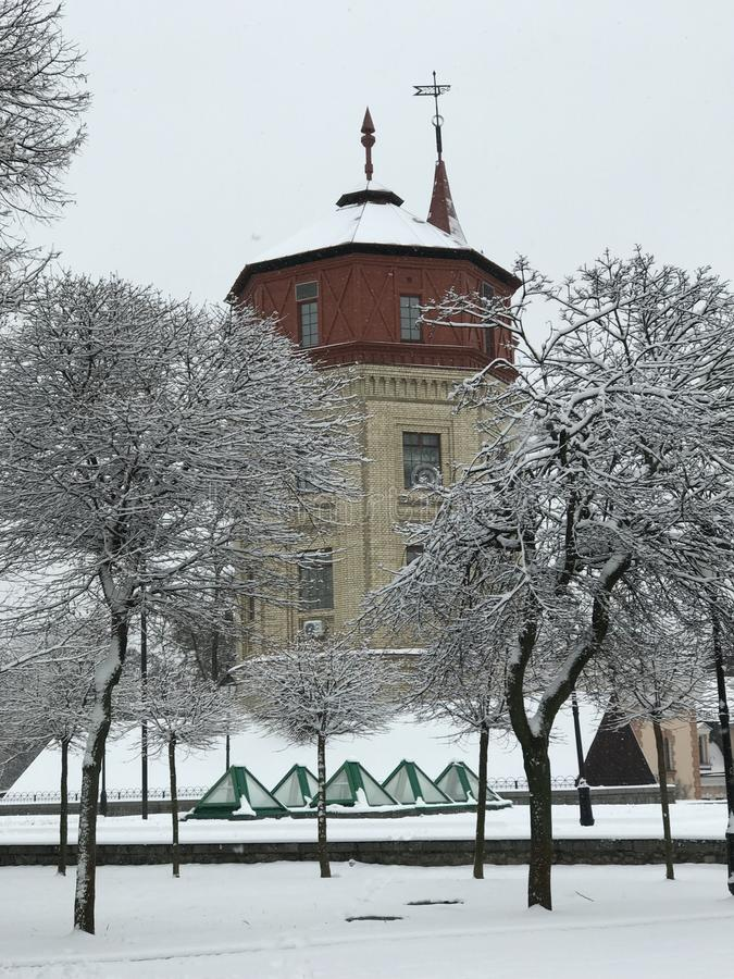 The Kyiv Water Museum under a blanket snow. The Kiev Water Museum is an educational centre that occupies one of the buildings from the early centralised water stock photos