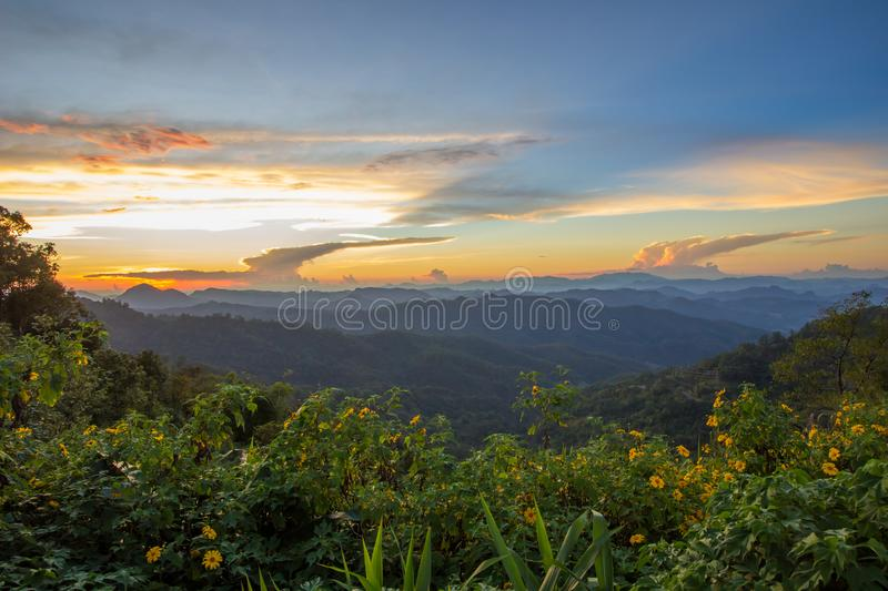 Impressive scenery during sunset from Kiew Lom viewpoint,Pang Mapa districts,Mae Hong Son,Northern Thailand. stock photo