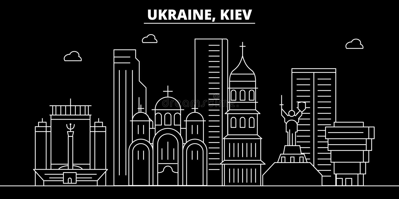 Kiew-Schattenbildskyline Ukraine- - Kiew-Vektorstadt, ukrainische lineare Architektur, Gebäude Kiew-Reiseillustration vektor abbildung