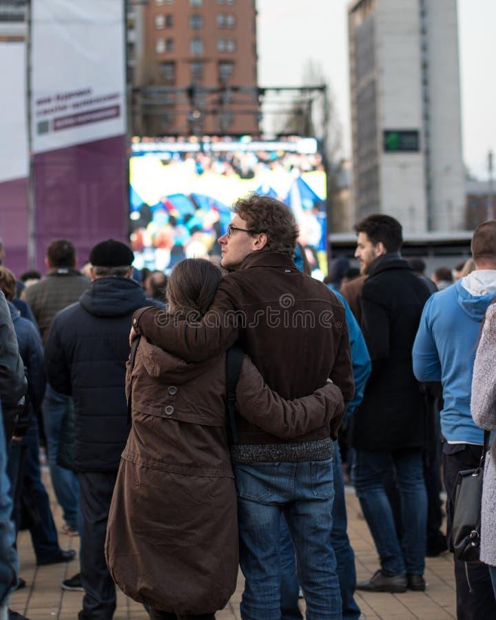 Kiew, Ukraine am 19. April 2019 MA-Pr?sidentendebatte 2019 Stadion Kiews Olympiyskiy lizenzfreies stockbild