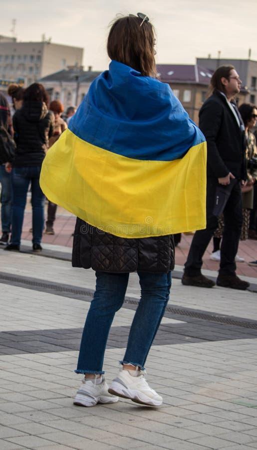 Kiew, Ukraine am 19. April 2019 MA-Pr?sidentendebatte 2019 Stadion Kiews Olympiyskiy stockbild