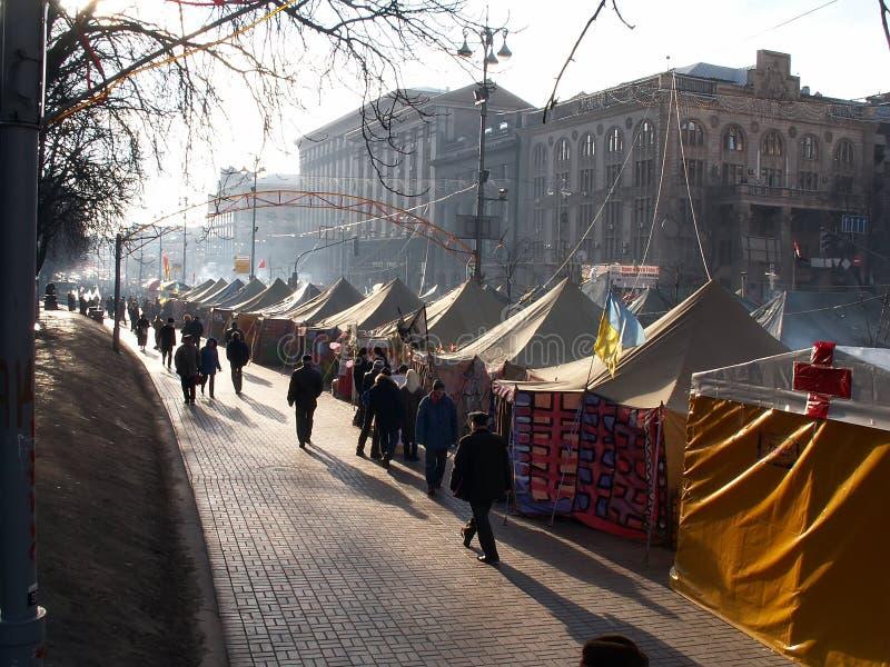 Kiew, Ukraine - 20 12 2004 Die orange Revolution in Kiew stockfoto